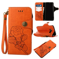 Flip Wallet Case PU Leather Card Stand Roses Folio Cover For Samsung S8+S7 S6 S5