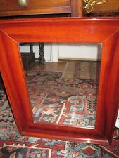 19c Antique Retangular Red Mahogany Coved Shaped Wall Mirror Wood Back c1860