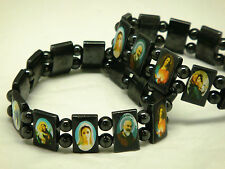 Lot of 3pcs Religious Magnetic Bracelet With Different Catholic Saint Picture