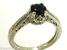R195 Genuine 9ct 9K White Gold NATURAL Sapphire Diamond ENGAGEMENT Ring size N