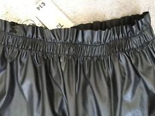 BLACK FAUX LEATHER SKIRT WITH WIDE ELASTICATED WAISTBAND & GATHERED- 10 BNWT