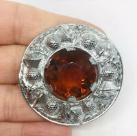 Celtic Scottish Thistle Brooch Large Topaz Glass Silver Tone Vintage Jewelry