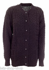 Women Ladies Chunky Cable Knit Long Sleeve Aran Crew Neck Cardigan Size 16 18 20