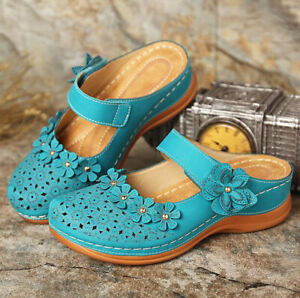 Women Rivet Floral Slippers Summer Ladies Platform Wedge Sandals Shoes