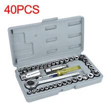 """40x Socket Adaptors Set 1/4""""&3/8""""Drive Ratchet Car Wrench Flexiable Repair Tools"""