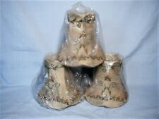 Lamp Shades for Chandelier - Set of 3 -Tan Fabric Floral Embroidered Flourish
