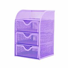 Pro Space Mesh Desk Organizer Office Supplies Storage Caddy with 3Drawers,Purple