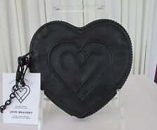 Love Bravery Heart shaped Wristlet Wallet Clutch Black Lady Gaga Elton John NWT