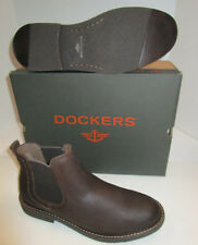 Mens Dockers Stanwell Chocolate Brown Leather Slip On Comfort Boots 7 $90