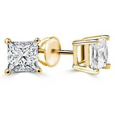 2.00CT PRINCESS CUT DIAMOND SOLITAIRE STUD EARRING 9K YELLOW GOLD STUD SCREW