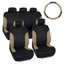 Bucatti Racing Car Seat Covers & PU Leather Steering Wheel Cover Beige/Black