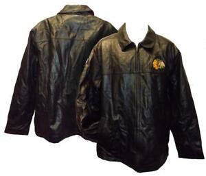 New Chicago Blackhawks MENS Sizes XL XLarge Black Leather Jacket