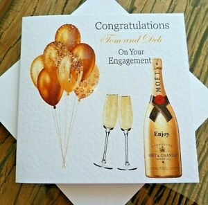 Handmade Personalised Congratulations Engagement Card Champagne  Gold Balloons