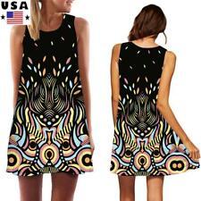 US Women Floral Print Mini Dress Ladies Sleeveless Long Tank Top Summer Sundress