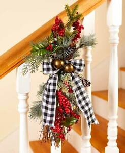 Lighted Black & White Plaid Pine-Cones and Berries Christmas Door Swag