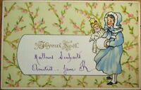Girl & Doll 1903 Color Litho French Christmas Postcard - Joyeux Noel