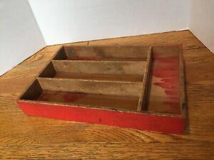 Vintage Wood Drawer Silverware Organizer Red Dovetailed Organizer Tray