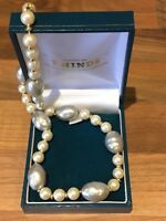 "Vintage 15.5"" Faux PEARL Strand NECKLACE W Gold Spacers"