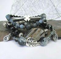 Armband Set Perlen Leder Achat 4 Teile Braun Schwarz Grau Silber Kleeblatt Blatt