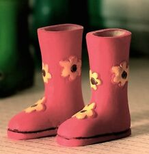 Flower Power Wellies, Dolls House Miniature Wellington Boots Pink w/ Flowers