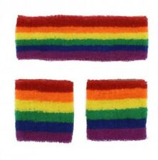 Unisex Gay Pride Rainbow Stripe Headband and Wristbands Set Brand New