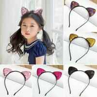 Sequins Cat Ears Headband Costume Cosplay Kids Cute Hair Band Party Halloween