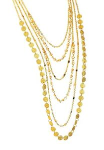 Gold Colour Multi Chain Beaded Necklace Gift Women Girls Dress Costume Jewellery