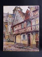 Huile sur panneau, datée 1929 et signée Vue de Gueugnon Bourgogne-Franche-Comté
