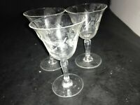 """SET OF 3 CRYSTAL CUT ETCHED FLOWERS WINE GLASSES  4.25"""" TALL LOT 18"""