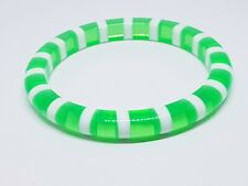 Stripped neon green and white vintage plastic bangle bracelet Colorful Retro
