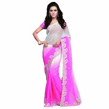 Indian Party Wear Designer Pink Shaded Faux Chiffon Embroidered Sari With Blouse