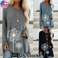 Womens Long Sleeve Pullover Blouse Casual Loose Baggy Jumper Tops Sweatshirt US