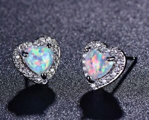 Ladies White Gold Filled Stud Earrings Fashion Women Silver Opal Earring