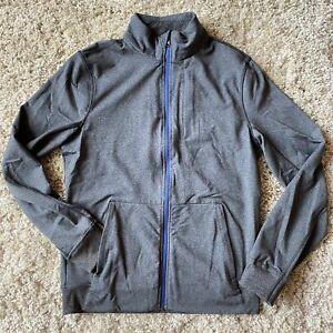 Lululemon Mens Charcoal Blue Zipper Light Track Shirt M Medium 3 Zip Pockets