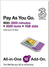 Three Pay As You Go All-in-One £10 SIM, 3000Mins, 3000Texts, 1GB Data use in EU