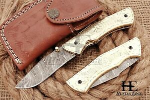 HUNTEX Custom Handmade Damascus 110 mm Long Engraved Copper Hunting Pocket Knife