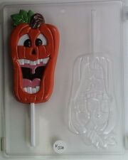 LAUGHING PUMPKIN LOLLIPOP CLEAR PLASTIC CHOCOLATE CANDY MOLD H028