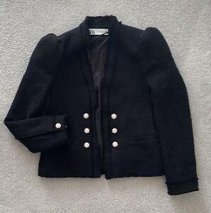 Zara Black Tweed Boucle Bloggers Blazer Jacket Puff Shoulder Xs 6 8 10 Diamonte
