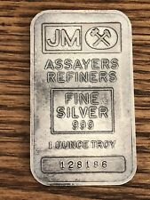 Rare Old Johnson Matthey 1 Troy Oz .999 Fine Silver Bar Very Low Mint Serial #
