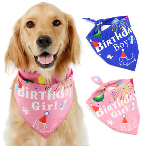 Dog Birthday Bandana Triangle Scarf Large Girl Small Boy Pink Blue Neckerchief