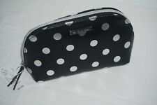 NWT NEW YORK & COMPANY WOMENS BLACK & SILVER POLKA DOT COSMETIC BAG