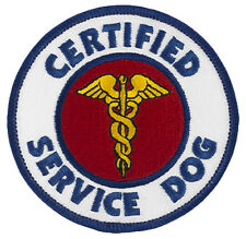 "CERTIFIED SERVICE DOG (Hook&Loop) SD-001V Embroidered Patch 3"" - FREE SHIPPING!"
