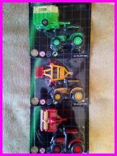 Mini-Traktor-Set 3 x Traktor mit Gerät Hänger Dickie Toys Die Cast Farm Life NEU