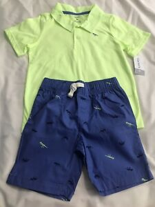 Carter's Toddler Boy Short Sleeve Polo And Dinosaur Print Shorts 5T NWT