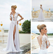 Sexy V-Neck Beach Lace Wedding Dresses High Slit Long Sleeve Bridal Gowns Custom
