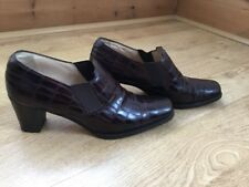 RUSSELL & BROMLEY BROWN LEATHER MOCK CROC BLOCK HEEL SHOES SIZE 38.5 U.K. 5.5