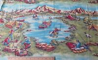 """Rare Vintage Camping Bag c1940s-1950s Printed Scenic Flannel Fabric~L-36""""X W-35"""""""