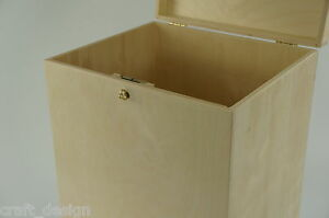 Wooden Lockable Plain Chest Storage Card Box Decoupage Wedding Cards P29/50zs