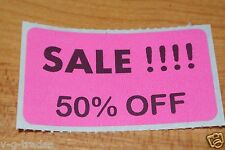 LOT 200 PINK SALE 50% OFF  Price Labels Stickers Tags Retail Store 2X1 INCH