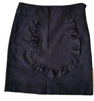 LEIFSDOTTIR Women's Navy Dark Blue Frilled Denim A-Line Skirt. Size UK 8, US 4.